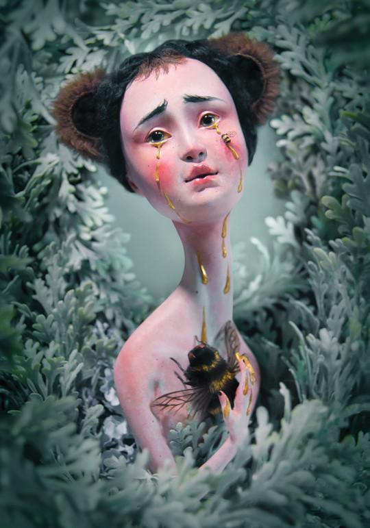 bees, gold tears, art doll, sculpture illustration, fine art